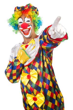 ingannare: Divertenti clown isolato su bianco