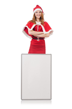 Young woman in red santa costume with blank board
