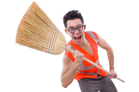 Funny janitor isolated on white Stock Photo - 23082438