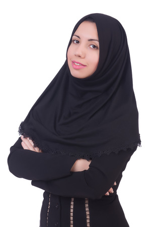 Muslim woman praying isolated on white Stock Photo - 23100724