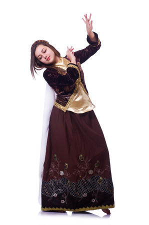 Young lady dancing traditional azeri dance Stock Photo - 23100725