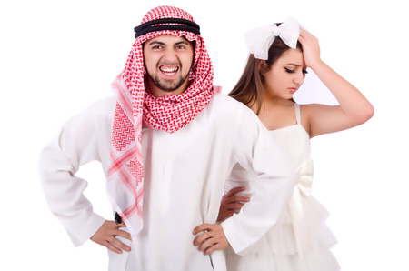 Arab man with his wife on white Stock Photo - 23100771