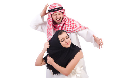 burqa: Arab man with his wife on white