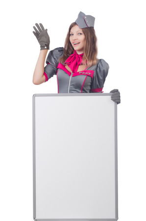 Young woman with blank board on white photo