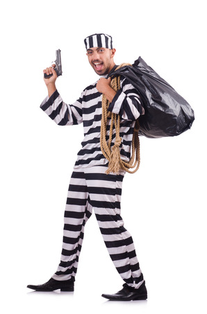 Prisoner with gun isolated on white Stock Photo - 23096374
