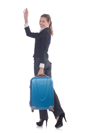 Businesswoman travelling isolated on white Stock Photo - 23096382