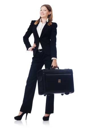 Businesswoman travelling isolated on white Stock Photo - 23096430