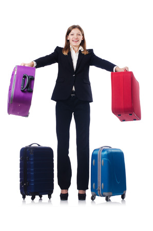 Businesswoman travelling isolated on white Stock Photo - 23100815