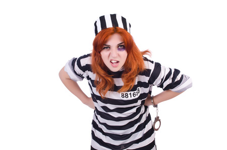 Prisoner in striped uniform on white Stock Photo - 23100904