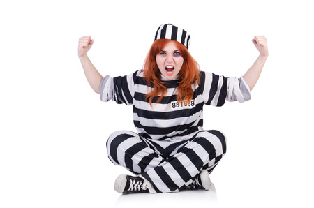 Prisoner in striped uniform on white Stock Photo - 23100912