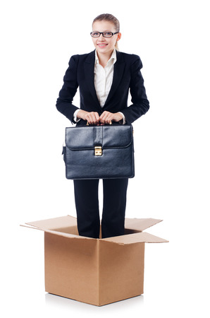 thinking out of the box: Woman in thinking out of box concept