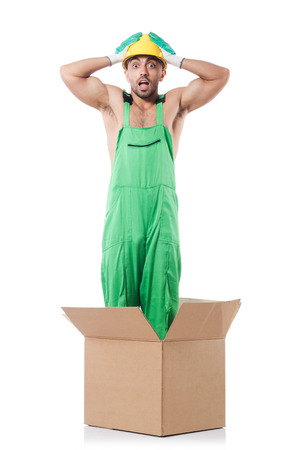 coveralls: Man in coveralls with boxes
