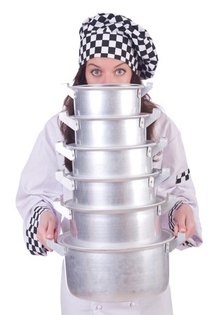 Cook with stack of pots on white Stock Photo - 23133822
