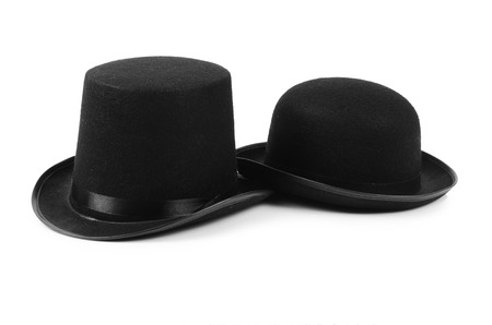 tophat: Cappello nero top uomo isolato sul bianco Archivio Fotografico