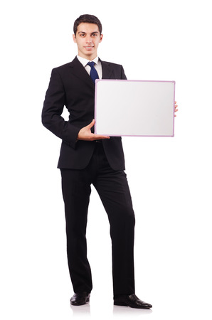 Young businessman with blank board Stock Photo - 22860509