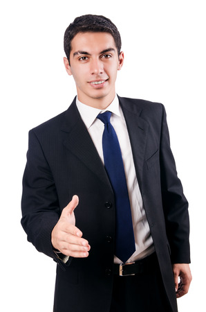businessman standing: Young businessman isolated on white Stock Photo