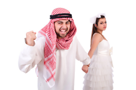 Arab man with his wife on white photo