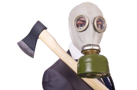 hatchet man: Businessman wearing gas mask isolated on white Stock Photo