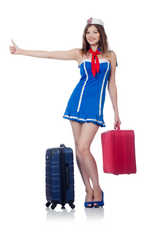 Woman travel attendant with suitcase on white Stock Photo - 22866824