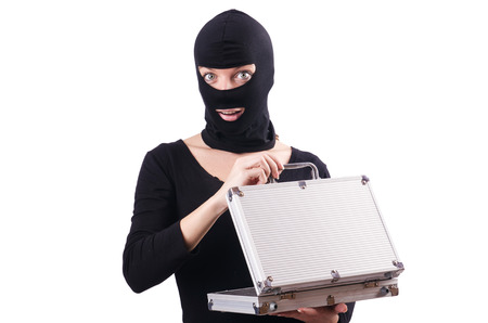 impostor: Industrial espionage concept with person in balaclava Stock Photo