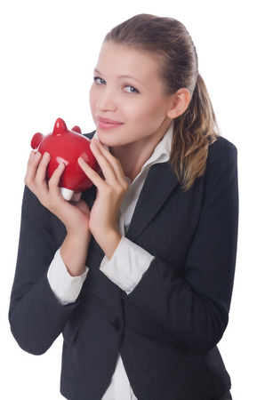 Woman businesswoman with piggybank on white photo