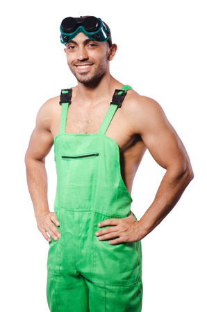 Man in green coveralls with goggles Stock Photo - 22867526