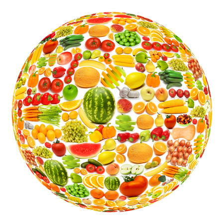 Round shape made from various fruits and vegetables photo