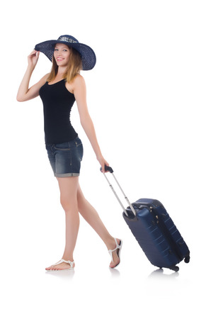 Girl with suitcases isolated on white photo