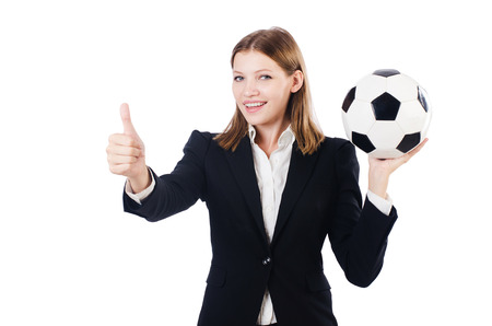 Businesswoman with ball on white photo
