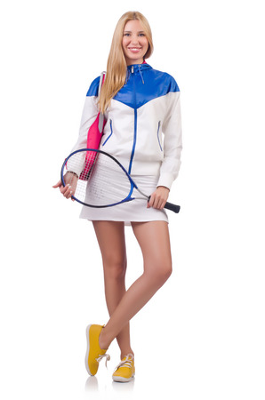 raquet: Young woman with tennis raquet