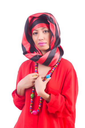 Woman in red scaf on white photo