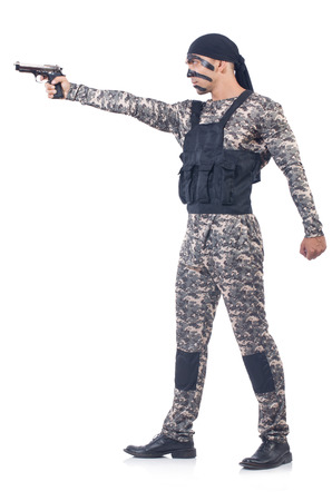 mercenary: Soldier isolated on the white background