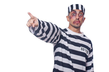 Prisoner with bad bruises on white Stock Photo - 23254674