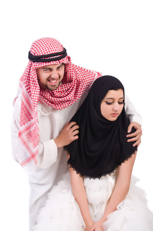 Arab man with his wife on white Stock Photo - 23254685