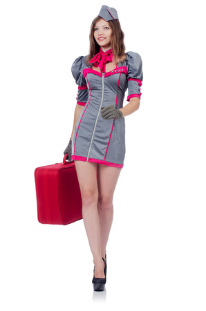 Woman travel attendant with suitcase on white Stock Photo - 23254807