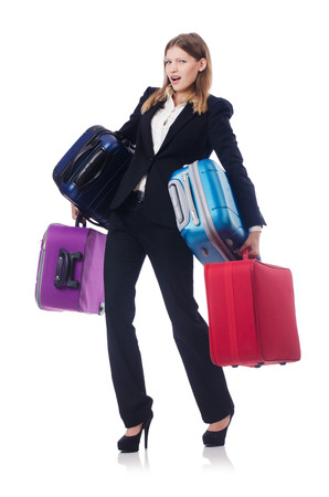 Businesswoman travelling isolated on white Stock Photo - 23302830