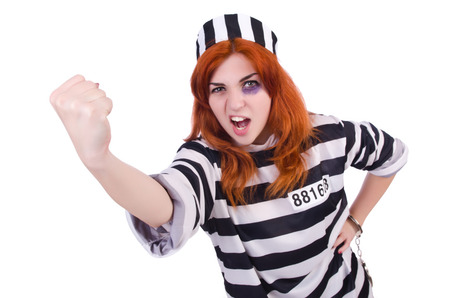 Prisoner in striped uniform on white Stock Photo - 23343688