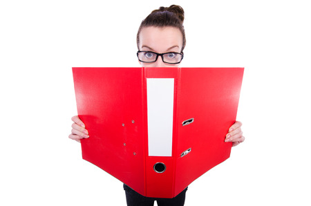 Funny businesswoman with red folder on white photo