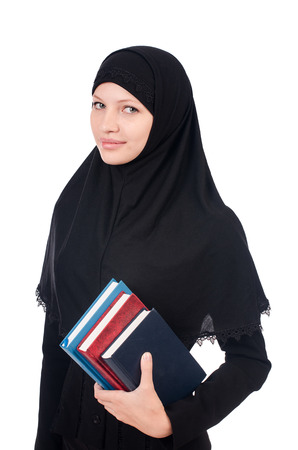 Young muslim female student with books Stock Photo - 23137029