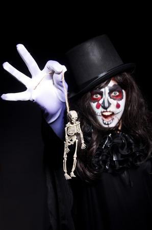 Monster with skeleton in dark room photo