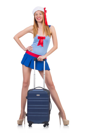 Woman travel attendant with suitcase on white Stock Photo - 23137243