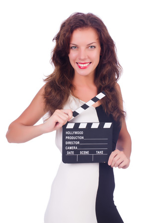 Woman with movie board isolated on white photo