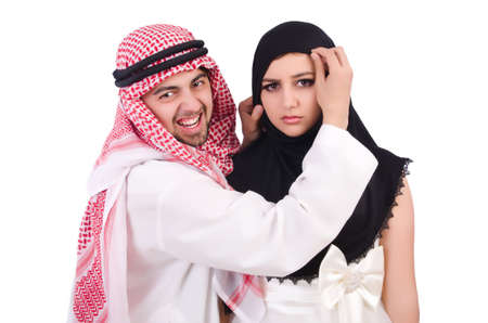 Arab man with his wife on white Stock Photo - 23137455