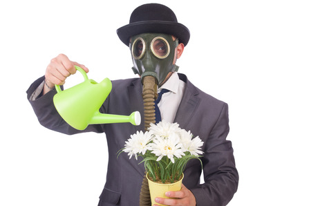 Businessman wearing gas mask isolated on white photo