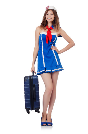 Woman travel attendant with suitcase on white Stock Photo - 23137474