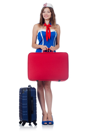 Woman travel attendant with suitcase on white Stock Photo - 23137475
