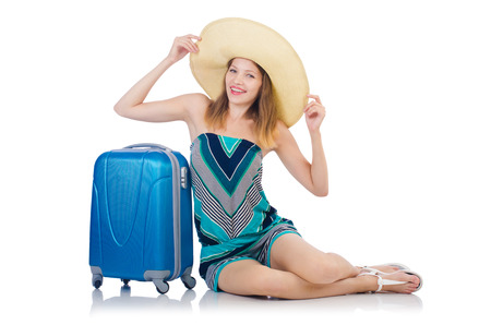 Woman with suitacases preparing for summer vacation photo
