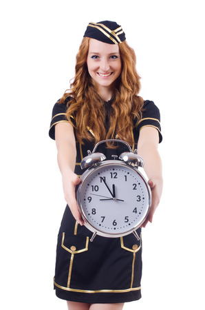 Sailor with clock isolated on white Stock Photo - 23369567