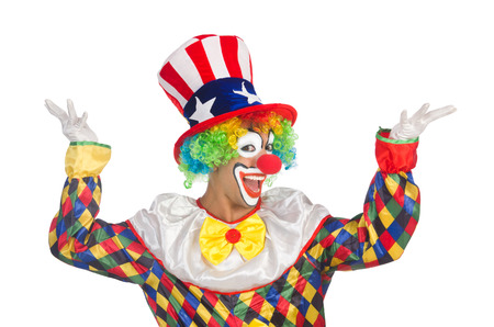 Clown with hat and american flag photo