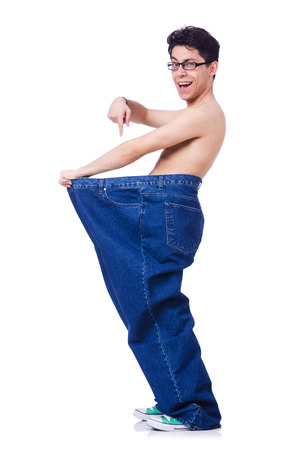 Funny man with trousers isolated on white Stock Photo - 23877050